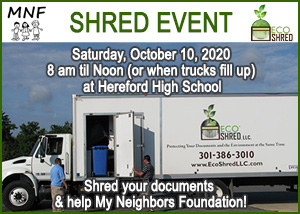 Shred Event October 10, 2020 MNF Eco-Shred at Hereford High Schoool