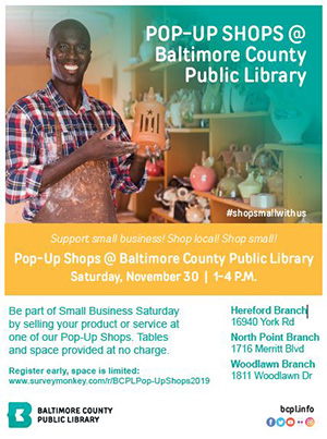 Small Business Saturday Pop-Up Shops Hereford BCPL Nov 30 2019
